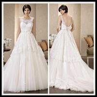 China Vintage Scoop A Line Wedding Dresses Lace Tulle Beaded Bridal Gowns wholesale
