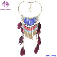 China Fashion bead tassel Pendant long Chain Feather Necklace on sale