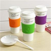 China ceramic coffee cup with silicone Lid covers with custom logos for promotion wholesale
