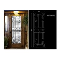 China Rust Prevention Wrought Iron Glass Door Inserts , Hollow Iron Glass Doors on sale