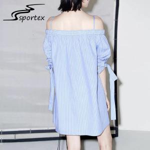 China White Blue Stripe Off Shoulder Women Dress , Casual Summer Dresses Minimalistic wholesale