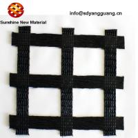 China Polyester Unia Axial Biaxial Geogrid Reinforced Block Retaining Wall With PVC Coated on sale