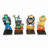 China Wooden Halloween Candle Holders with Cat/Ghost/Witch Patterns, Includes 4 Assortments wholesale