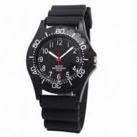 China Promotional Plastic Watch with Plastic Case and Rubber Strap wholesale