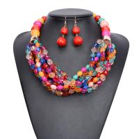 China Fashion beaded Jewelry set African colorful Necklace& Earrings on sale