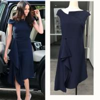 China European Harry Princess Megan Chic Slim Dress Off Shoulder Women Sexy Brief Dark Blue Irregular Midi Dress Elegant wholesale