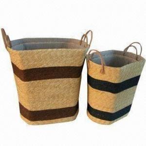 China Laundry Basket/Hamper/Storage Box, 100% Natural Wheat Straw, Green Product wholesale