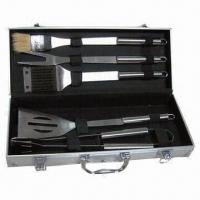 Quality Stainless Steel BBQ Tools Set with Portable Aluminum Case Packaging for sale