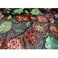 China Rich Floral Embroidered Mesh Fabric For Dresses , Vintage Heavy Lace Fabric wholesale