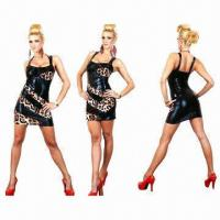 China Fancy leather leopard party dress and leopard clubwear, made of leather, minimum order accepted wholesale