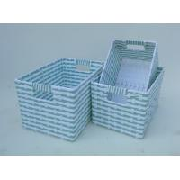 China 100% handwoven S/3 rectangle home storage basket with paper material,magazine basket wholesale