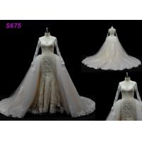 China Long Sleeves lace application detached train mermaid wedding dresses wholesale