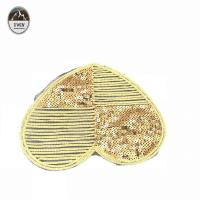 China Heart Shape Sew On Embroidered Patches Popular Golden Sequin Professional Design wholesale