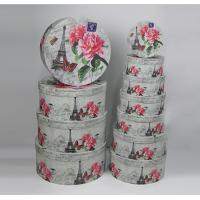 China Environmentally Friendly Round Gift Boxes With Lids White Flower And Tower Design wholesale