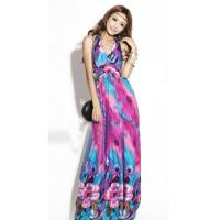 China Floral Printed Hanging Neck Ankle-length Shift Dress wholesale