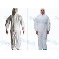 China Waterproof Breathable Disposable Protective Coveralls Cotton Knitted / Elastic Cuff White Color wholesale