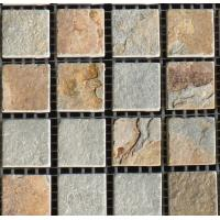 Buy cheap green quartz floor tiles mosaic natural stone tile home depot or park from wholesalers