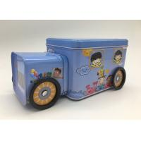China Candy Storage 2 Tin Branded Gift Boxes Blue Car Shape With Four Wheels For Kids wholesale