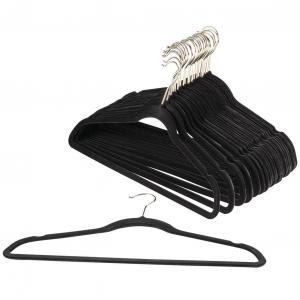 China 100 Piece Set Slim Velvet Hangers Suit Black Heavy Duty Velvet Hangers wholesale