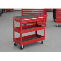 China Workshop Storage 2 Layer Red Rolling Mechanics Tool Cart With One Drawer wholesale