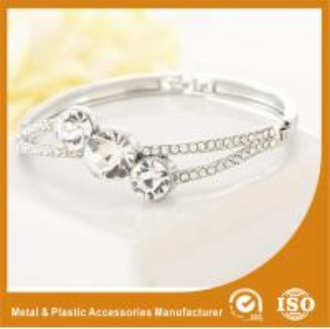 China Three Stones Shape Solid Silver Costume Jewellery Bangles Imitation Diamond on sale