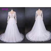 China High Fork Small Tail 3d Flowers Tulle Custom Wedding Dress Bride Gowns wholesale