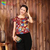 China None Decoration Chinese Ladies Blouses , Printed Chinese Blouse For Women wholesale