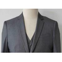 China Stripe Mens Light Gray 3 Piece Suit Worsted Wool Flat Pocket Japanese Style wholesale