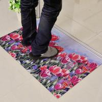 China Non-Slip Rubber Floor Carpet With Beautiful Flower Design For Outdoor / Indoor Entrances wholesale