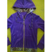 China Purple Velour Color Block Womens Zip Up Hoodies With Kangaroo Pocket High End wholesale