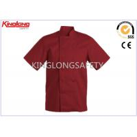 China Fashion Comfortable Polyester Cotton Chef Cook Uniform Red Chef Jacket on sale