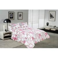 China White And Pink Printed Quilt Set 100 Percents Cotton For Household Bedroom wholesale