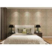 China Rustic Embossed Washable Vinyl Wallpaper , Symmetrical Floral Pattern Wallpaper wholesale
