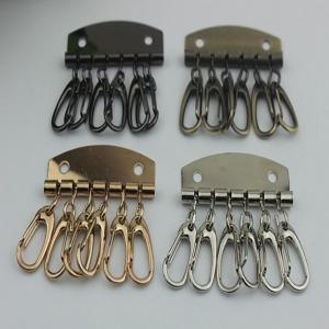 China Leather Key Case Wallets Unisex Keychain zinc alloy Key Holder Ring with 6 Hooks Snap Closure wholesale