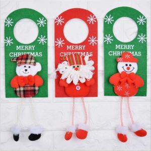 China Santa Snowman Door Ring Hanging Christmas felt hanging decorative Christmas door knob hanger wholesale