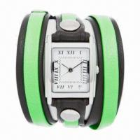 China Quartz Long Strap Watch with Alloy Case, PU/Genuine Leather Strap, Waterproof, Japanese Movement wholesale