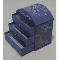 Round top desk paper-cardboard box with 3 drawers