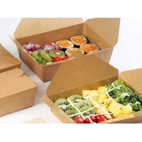 China 18PE Bento Salad Lunch Box , One-Time Kraft Paper Packaging Box wholesale