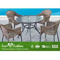 China Customized Outdoor Patio Furniture Dining Sets With Round Table And Chairs  Powder Coated Frame wholesale