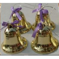 China Manufacturers wholesale 12 pack of 3.8 CM diameter of 3.5 CM high Christmas decoration golden horn small bells on sale