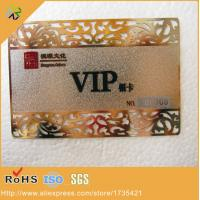 China 0.3mm thickness outline cutting through frosted surface effect gold metal vip card wholesale