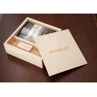 China Sliding Lid Wooden Photo Frame Box , Wooden Photo Memory Box With Wooden USB Drive wholesale