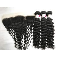 China 100% Brazilian Virgin Hair Remy Hair Deep Wave 3 Bundles With 13x4 Lace Frontal on sale