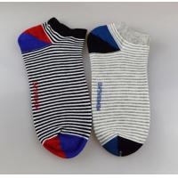 China Running Anti Skid Striped Ankle Socks , Novelty Cushioned Ankle Socks For Men wholesale