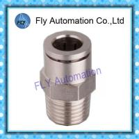 China Pneumatic Tube Fittings Straight male thread full copper nickel push pneumatic fittings PC series on sale