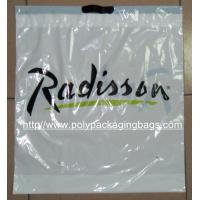 China Customized White Plastic Drawstring Bags / Ribbon Drawstring Poly Bags on sale
