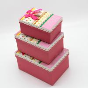 China Rectangle gift box 3pcs set, customized cardboard box wholesale