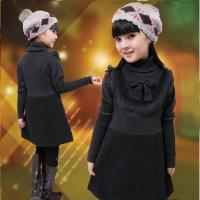 China Uneven Grey Turtleneck Little Girls Winter Dresses With Bow 5 Year Old Girl Clothes wholesale