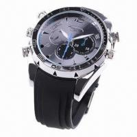 China 1,080P Water-resistant Metal Watch Camera with Silicone Belt and Night Vision Function wholesale