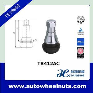 China Ozone Resistant Chrome Tire Valve Stem Replacement TR412AC , Rubber Tubless Tires Valve wholesale